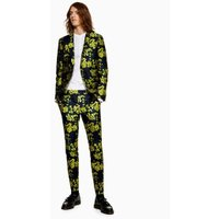 Mens Navy And Yellow Blossom Jacquard Skinny Trousers, Yellow