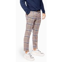 Mens Purple Check Crop Joggers, Purple