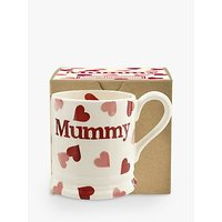 Emma Bridgewater Pink Hearts 'Mummy' Half Pint Mug, Pink/Multi, 284ml