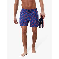 Joules Heston Lobster Print Swim Shorts, Lobster Blue
