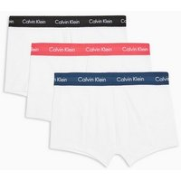 Mens Calvin Klein White With Colourful Waistband Trunks 3 Pack*, White