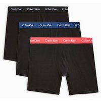 Mens Calvin Klein Black With Colourful Waistband Trunks 3 Pack*, Black