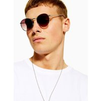 Mens Silver Metal Round Sunglasses, SILVER