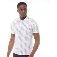 Ben Sherman Mens All Over Print Tipped Jersey Polo White
