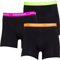 BJORN BORG Mens Three Pack Boxer Trunks Black With Colour Waistband