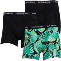 BJORN BORG Mens Three Pack Boxer Trunks Green And Print
