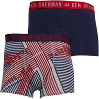 Ben Sherman Mens Bowler Two Pack Boxers Union Jack Print/Navy