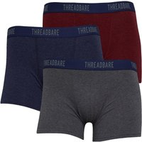 THREADBARE Mens Marl Three Pack Boxers Grey Marl/Denim Marl/Burgundy Marl