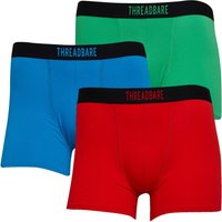 THREADBARE Mens Bright Three Pack Boxers Blue/Red/Green