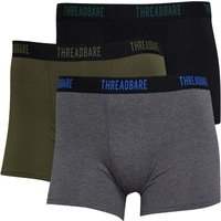 THREADBARE Mens Core Three Pack Boxers Black/Black/Black