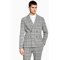 Mens Grey Check Skinny Double Breasted Blazer, Grey