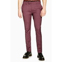 Mens Red Burgundy Super Skinny Trousers, Red