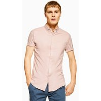 Mens Dusky Pink Stretch Skinny Oxford Shirt, Pink