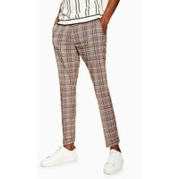 Mens Brown Check Skinny Smart Trousers, Brown