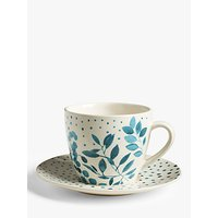 John Lewis & Partners Woodland Floral Cup & Saucer, 260ml, White/Multi