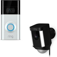 RING LIGHT Spotlight Cam & Video Doorbell 2 Bundle - Black & Silver, Black
