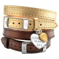 Chambers & Beau Personalised Leather Single Wrap Heart Bracelet, Gold