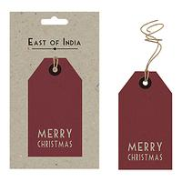 East of India Merry Christmas Gift Tags, Pack of 6, Red