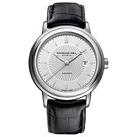 Raymond Weil 2847-STC30001 Men's Maestro Automatic Leather Strap Watch, Black/Silver