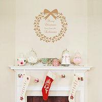 Megan Claire Personalised Family Christmas Wreath Wall Sticker