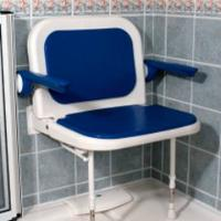 Betterlife Fold Up Shower Seat Blue Padded Back Arms