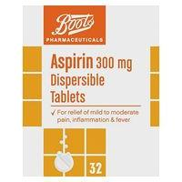 Boots Pharmaceuticals Aspirin 300mg Dispersible - 32 Tablets
