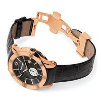 Montegrappa NeroUno Quartz Watch Rose Gold PVD Black Dial