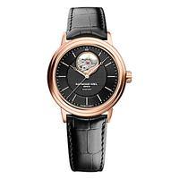 Raymond Weil 2827-PC5-20001 Men's Maestro Rose Gold Plated Leather Strap Watch, Black