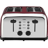 LOGIK L04TR14 4-Slice Toaster - Silver & Red, Silver