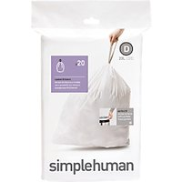 simplehuman Bin Liners, Size D, Pack of 20