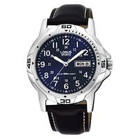 Lorus RXN51BX9 Men's Sports Day Date Leather Strap Watch, Black/Navy