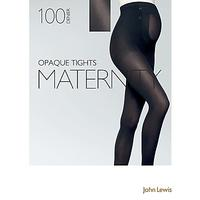 John Lewis 100 Denier Opaque Maternity Tights, Black