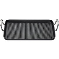 Le Creuset Rib Rectangular Toughened Non-Stick 34cm Grill, Satin Black