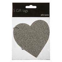 John Lewis & Partners Glitter Heart Gift Tags, Pack of 5