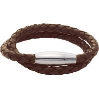 Gaventa Brown Leather Double Twist Bracelet with Magnetic Steel Clasp