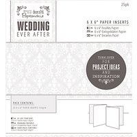 Docrafts Wedding Paper Inserts, Dove Grey, 6 x 6, Pack of 25