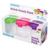 SISTEMA Knick Knack Square 138 ml Boxes - Pack of Three, Green