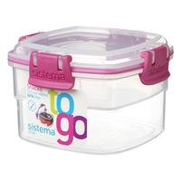 SISTEMA Square 400 ml Snacks to Go Box, Pink