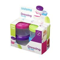 SISTEMA Round 0.35-litres Dressing Pots - Pack of 4, Pink