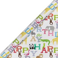 John Lewis & Partners Happy Birthday Zoo Wrapping Paper