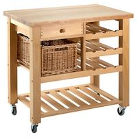 Eddingtons Lambourn Butcher's Trolley Wine Rack, Small, Beech Wood
