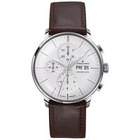 Junghans 027/4120.01 Men's Chronoscope Chronograph Day Date Leather Strap Watch, Brown/White