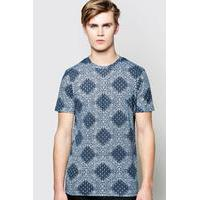 Over Paisley Print TShirt - navy