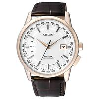 Citizen CB0153-21A Men's World Perpetual AT Date Leather Strap Watch, Brown/White