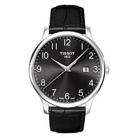 Tissot T0636101605200 Men's Tradition Date Leather Strap Watch, Black