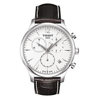 Tissot T0636171603700 Men's Tradition Chronograph Date Leather Strap Watch, Dark Brown/White