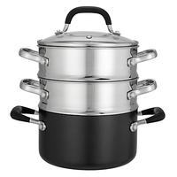 John Lewis & Partners 'The Pan' Aluminium 18cm Steamer Set, 3-Piece