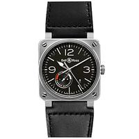 Bell & Ross BR0397-BL-SI/SCA Men's Aviation Date Leather Strap Watch, Black