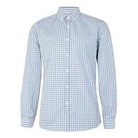 Mens Blue and Grey Gingham Button Down Smart Shirt, Blue