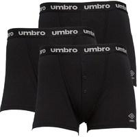 Umbro Mens Three Pack Button Boxers Black